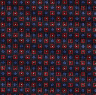 Red, White & Sky Blue on Dark Navy Blue Macclesfield Print Silk Tie #263