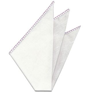 Belgian White Linen Pocket Squares with Reddish Purple Hand Sewn Decorative Flat Edges #18