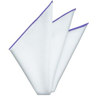 Bright White Oxford Cotton with Bluish Purple Contrast Edges Pocket Square #RCP-12