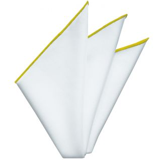 Bright White Oxford Cotton with Yellow Contrast Edges Pocket Square #RCP-16