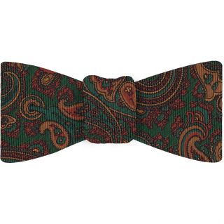 Turquoise, Brown & Mandarin on Forest Green Macclesfield Madder Printed Silk Bow Tie #MBT-23