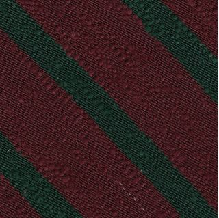 Forest Green on Wine Shantung Striped Silk Pocket Square #SHSTP-3