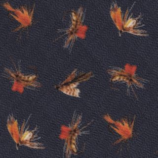 Burnt Orange, Off-White, Brown on Midnight Blue Macclesfield Printed Fishing Lure Wool Tie #MCWT-2