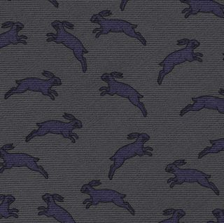 Purple & Black on Charcoal Gray Macclesfield Printed Rabbit Wool Tie #MCWT-5