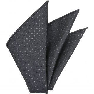 Light Lavender & Powder Blue on Dark Charcoal Gray Macclesfield Printed Silk Pocket Square #MCP-108