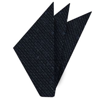 Midnight Blue Shantung Grenadine Grossa Silk Pocket Square #SHGP-1