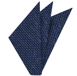 Navy Blue Shantung Grenadine Grossa Silk Pocket Square #SHGP-3