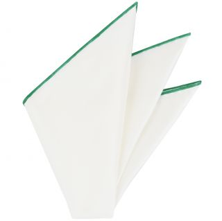Natural White Thai Silk With Forest Green Contrast Edges Pocket Square #THSCP-30