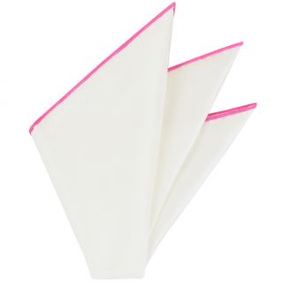 Natural White Thai Silk With Pink Contrast Edges Pocket Square #THSCP-31