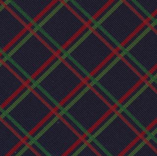 Red & Green on Dark Navy Blue Atkinsons Plaid Irish Poplin Tie #APL-3
