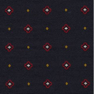 Red / White & Yellow On Midnight Blue Cashmere/Silk Jacquard Tie #2
