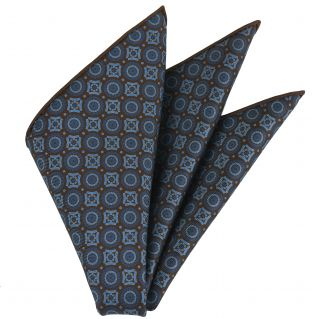 Sky Blue & Blue on Dark Chocolate Macclesfield Printed Silk Pocket Square #MCP-180