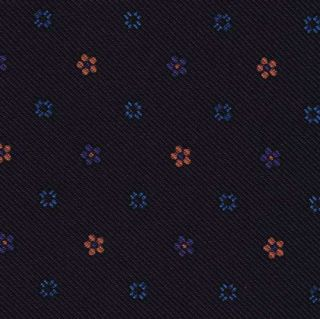 Dark Pink, Purple & Ocean Blue on Midnight Blue Macclesfield Printed Silk Tie #MCT-92