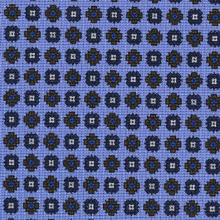 Navy Blue, Blue, Chocolate & White on Sky Blue Macclesfield Print Silk Tie #296