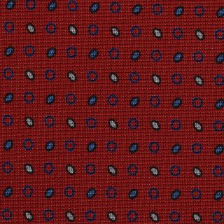Sky Blue, Whit & Black on Red Macclesfield Print Silk Tie #MCT-321