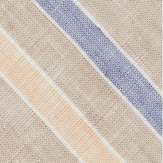 Dark Sand, Sand, Dark Blue & White Linen Striped Pocket Square #2
