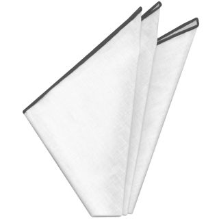 White with Gray Contrast Edges Belgian Linen Pocket Square