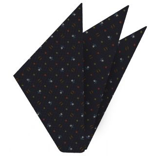 Sky Blue, Chocolate, Burnt Orange, Lime Green & Whit on Midnight Blue Macclesfield Print Silk Pocket Square #MCP-206
