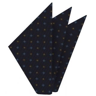 Sky Blue, Orange & Whit on Midnight Blue Macclesfield Print Silk Pocket Square #MCP-208
