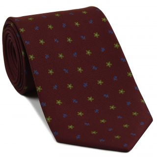 Dark Blue, Dark Gold & Sky Blue on Burgundy Macclesfield Print Silk Tie #262