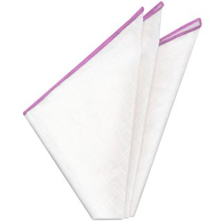White with Fuchsia Contrast Edges Belgian Linen Pocket Square