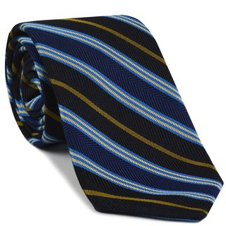 Light Blue, Off White & Gold on Black & Navy Blue Striped Silk Tie #SST-22
