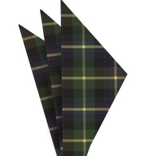Tartan Silk Pocket Square #TAP-10  Navy Blue, Black, Light Yellow & Bottle Green
