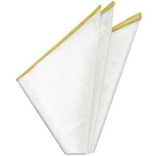 White with Yellow Contrast Edges Belgian Linen Pocket Square