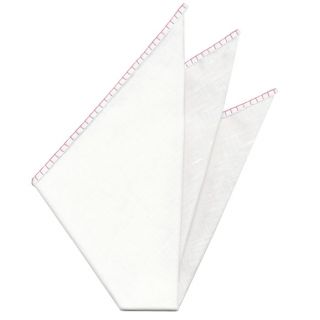 Belgian White Linen Pocket Squares with Pink Hand Sewn Decorative Flat Edges