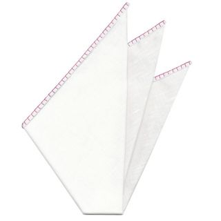 Belgian White Linen Pocket Squares with Fuchsia Hand Sewn Decorative Flat Edges