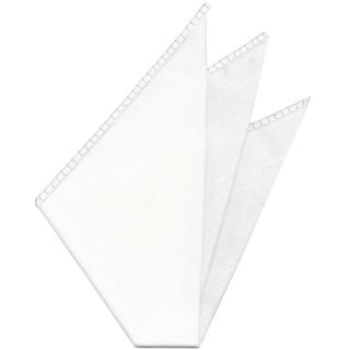 Belgian White Linen Pocket Squares with White Hand Sewn Decorative Flat Edges