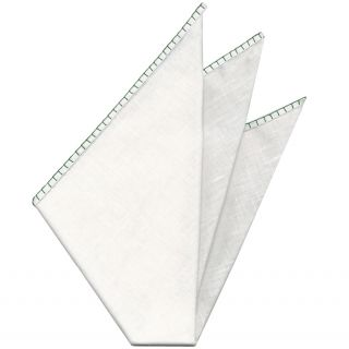 Belgian White Linen Pocket Squares with Forest Green Hand Sewn Decorative Flat Edges