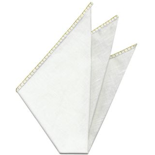 Belgian White Linen Pocket Squares with Yellow Hand Sewn Decorative Flat Edges