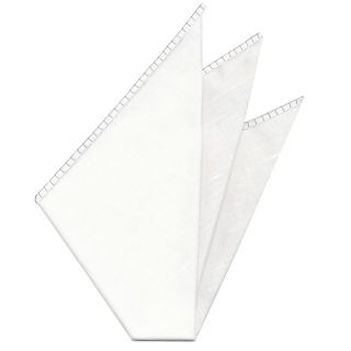 Belgian White Linen Pocket Squares with Silver Hand Sewn Decorative Flat Edges