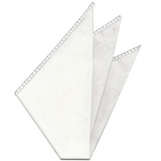 Belgian White Linen Pocket Squares with Silver Gray Hand Sewn Decorative Flat Edges