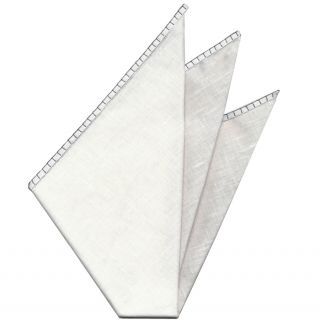 Belgian White Linen Pocket Squares with Charcoal Gray Hand Sewn Decorative Flat Edges