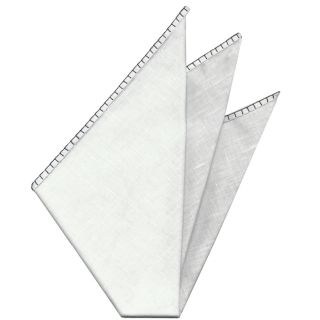 Belgian White Linen Pocket Squares with Black Hand Sewn Decorative Flat Edges