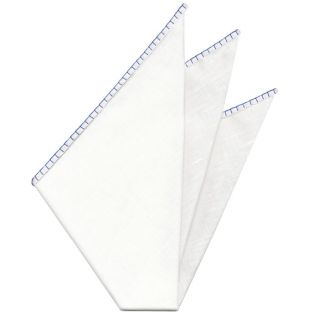 Belgian White Linen Pocket Squares with Blue Hand Sewn Decorative Flat Edges