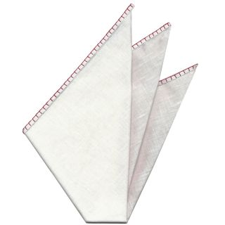 Belgian White Linen Pocket Squares with Red Hand Sewn Decorative Flat Edges