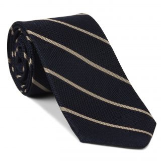 Off-White on Midnight Blue Grenadine Fina Reppe Stripe Silk Tie #GFRST-2
