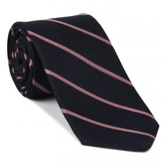 Pink on Midnight Blue Grenadine Fina Reppe Stripe Silk Tie #GFRST-7