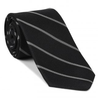 Silver on Charcoal Gray  Grenadine Fina Reppe Stripe Silk Tie #GFRST-8