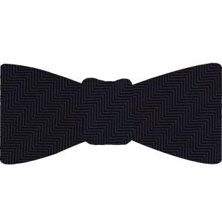Midnight Blue Herringbone Silk Bow Tie #HBBT-2