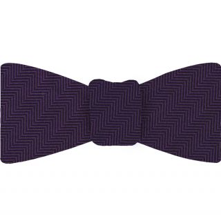 Purple Herringbone Silk Bow Tie #HBBT-3