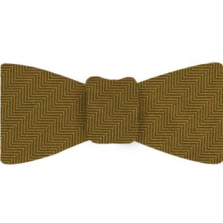 Gold Herringbone Silk Bow Tie #HBBT-6
