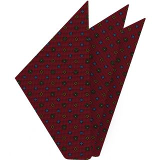 Sky Blue, Yellow Gold, Olive Green & White on Dark Red Macclesfield Print Silk Pocket Square #MCP-251