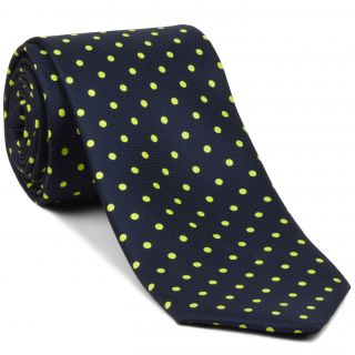 Yellow Corn on Midnight Blue Macclesfield Printed Silk Tie #MCDT-24