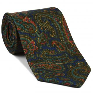 Turquoise, Olive Green & Red on Navy Blue Macclesfield Madder Printed Silk Tie #MT-19