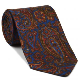 Red, Chocolate & Gold on Medium Blue Macclesfield Madder Printed Silk Tie #MT-21