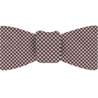 Burgundy & White Shepherd's Check Silk Bow Tie #SCHBT-3